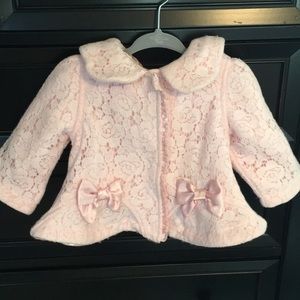 Light pink Biscotti lace coat size 9 months. GUC